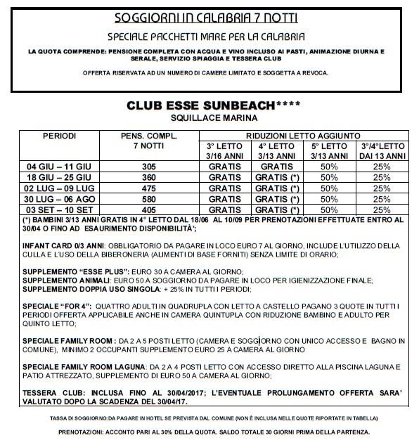 Club Esse Sunbeach: Squillace Marina | ACLI Roma